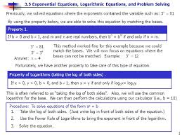 3 5 exponential equations logarithmic equations and problem solving 1 if b 0 and