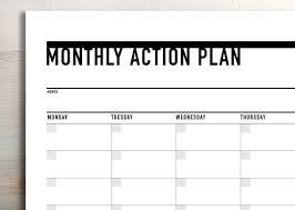 Printable Monthly Action Planner Agenda Landscape
