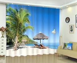 palm tree curtains beach palm tree lounge chair personality design personality printing blackout curtains screens palm