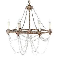 white washed wood chandelier refined rustic meets transitional in a beaded 6 candle circle strung wooden