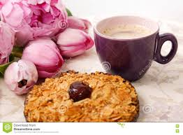Cookie Coffee Cups A Cup Of Coffee A Cookie And Rose Flowers On The Table Stock