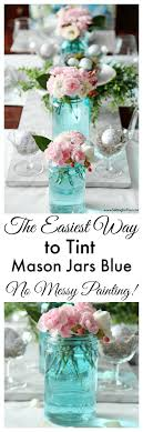 The Easiest Way to Tint Mason Jars Blue - Setting for Four