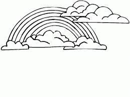 Small Picture Adult rainbow color pages Rainbow With Clouds And Sun Coloring