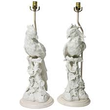 pair of large scale hollywood regency blanc de chine figural parrot