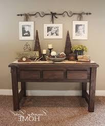 Furniture: Rustic Honey Wooden Entryway Table With Undershelf For   Regarding Entryway Table Ideas (