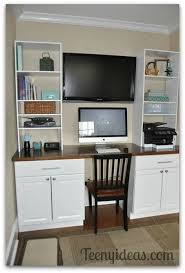 diy office built ins using stock kitchen cabinets and custom storage towers home base u29 base