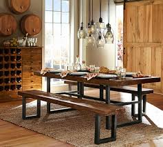 nice mix of wood metal and gl pottery barn pendant lighting dining table