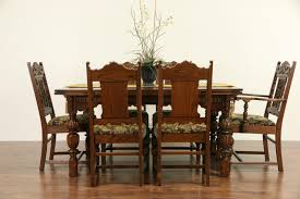 sold english tudor 1920 antique carved oak dining set table 6 with enchanting dining chair art