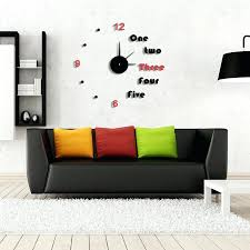 living room wall clocks. Wall Clocks Living Room Use Modern For Awesome Sitting With Black Leather Sofa And Colorful Cushions O