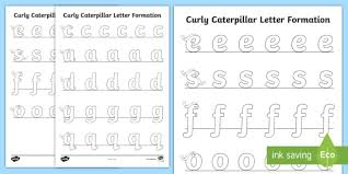Phonics printable worksheets and activities (word families). Caterpillar Letter Formation Worksheet Curly Handwriting