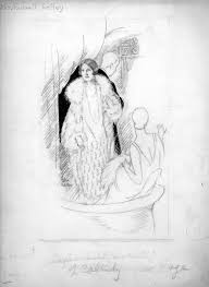 Sketch of Daphne Field Kelley in a box seat at a theatre - Tri ...