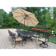 rectangular cast aluminum patio dining table. cast aluminum 11-piece rectangular patio dining set with spunpoly beige cushions table