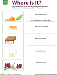 Where Is It? Describing Position | Worksheet | Education.comSecond Grade Geometry Worksheets: Where Is It? Describing Position