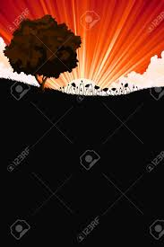 Sunrise Landscape And Design Nature Sunrise Landscape With Tree And Flowers For Your Design