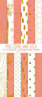 Free Digital Scrapbook Paper Coral Gold And White Free Pretty