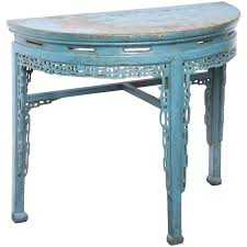 z 19th century chinese hand painted half round console table
