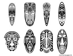 Small Picture adult 12 african masks Coloring pages Printable