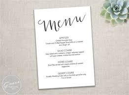 birthday dinner menu template printable