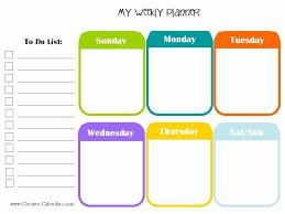 Cute Weekly Schedule Template Fresh Free Printable Weekly Planner