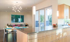 Attractive Mid Century Modern Kitchen Idea With Lavish Cabinet Also Cool  Chandelier Above Table