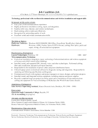 Network Technician Sample Resume Engineer Pdf Format India