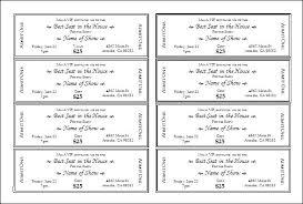 Sheets Ticket Format Template Meal Sample Lottery Raffle