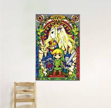 zelda stained glass window wall decal link nintendo mural sticker designs s49