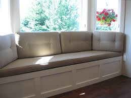 window seat furniture. Furniture. Grey Fabric Window Seat Connected By Glass Windows. Pleasing Shows Furniture