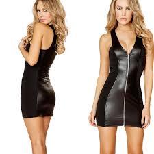 y women faux leather mini dress nightclub sleeveless zip front slim pencil dress female black party club dresses clubwear long dress for women womens