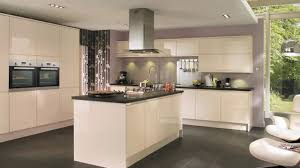 Cream Gloss Kitchens Gloss Cream Integrated Handle Contemporary Flat Kitchen From