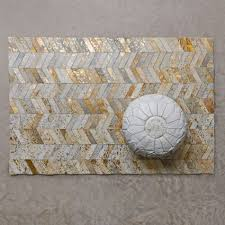 small gold chevron cowhide rug