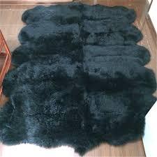 huahoo ten pelt 6ft x 9ft black genuine sheepskin rug natural fur real sheepskin rug pad