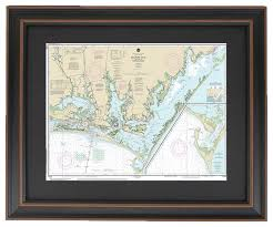 Framed Nautical Chart Outer Banks Beaufort Inlet And Core Sound