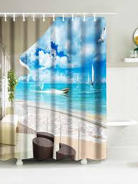 surfing print water resistant nautical shower curtain sky blue w59 inch l71 inch