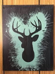 painted deer silhouette canvas 11 x 14 hand painted dark blue