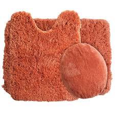 Plush Bathroom Rugs Lavish Home Rust 195 In X 24 In Super Plush Non Slip 3 Piece