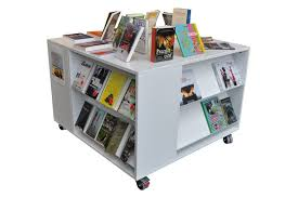 library unit furniture. frontline square display furniture displays books in a unit with shelves on all four sides library