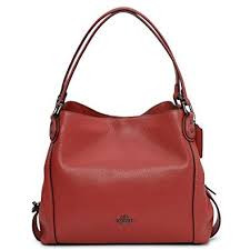 COACH Women s Pebbled Leather Edie 31 Shoulder Bag Dk Washed Red One Size
