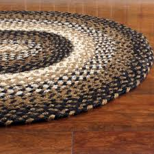 braided area rug black tan cream oval rectangle primitive country ihf stallion for