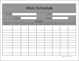 Printable Work Schedule Templates Free Schedule Form Ohye Mcpgroup Co