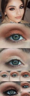 makeup tutorials for green eyes warm copper photo tutorial easy eyeshadow video and tutorial