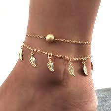2019 Women Crystal Leaf Pearl <b>Anklet</b> Woven Chain Bracelets ...