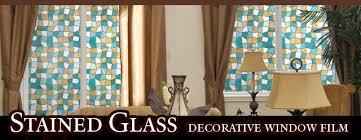 leaded glass decorative window ocean blue static cling