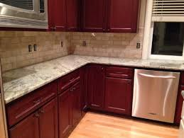 subway tile backsplash with cherry cabinets. Delighful With Kitchen Backsplash Cherry Cabinets Decor 2018 Intended Subway Tile With C