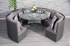 outdoor round dining table. YAKOE® Conservatory Grey Rattan Outdoor Garden Sofa 10 Seater Round Dining Table Set   Furniture