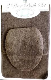 new 3 piece bath rug set chocolate brown bathroom mat contour rugs sets