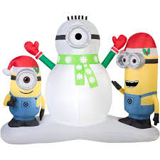 Disney Despicable Me Minions Making Snowman Christmas Airblown ...