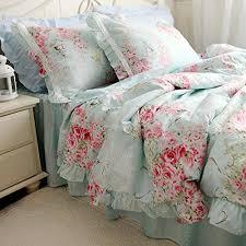 swanlake blue cotton roses duvet cover bedding set blue shabby chic bedding