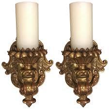 viyet designer furniture lighting thomas morgan renaissance giltwood candle sconces