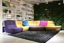 modern living room colorful half fabric